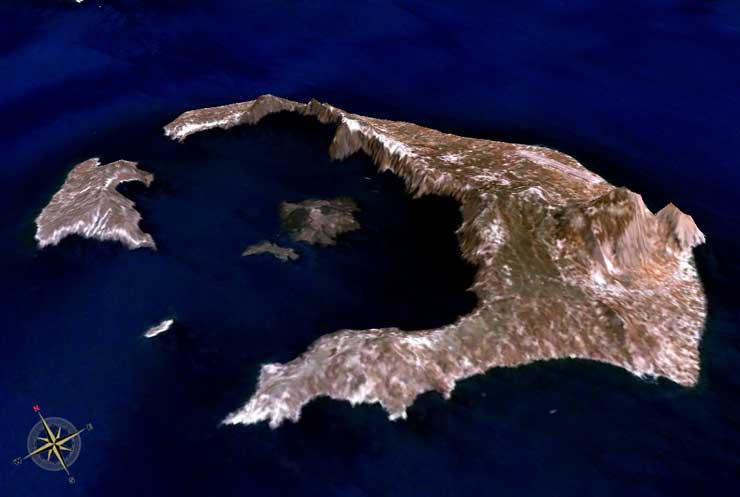 Ostrov Santorini (Thera) ze vzduchu