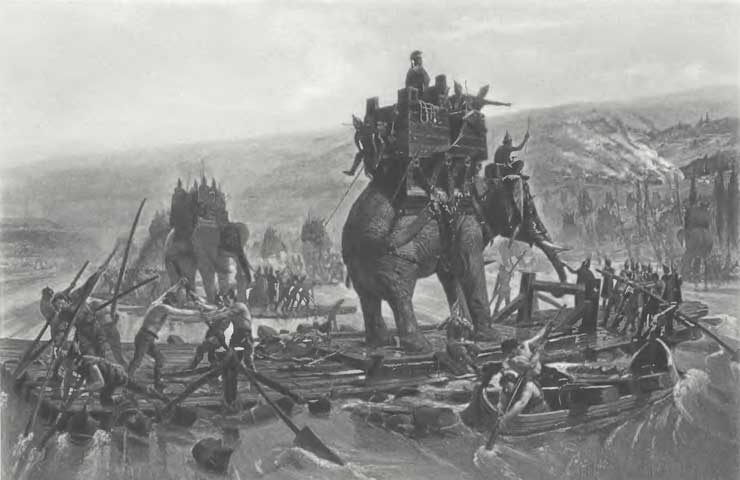 A depiction of Hannibal and his elephants crossing the Rhone River