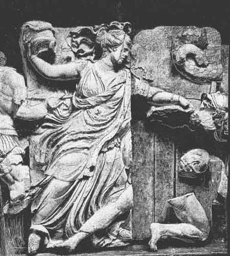 Nyx or also possible clotho from the pergamon zeus altar