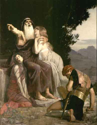 Oedipus  with Ismene and Antigone  condemns Polynices  1883   Andre    Oedipus And Antigone