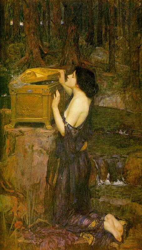 Pandora a espreitar a caixa (J.W. Waterhouse, 1896)